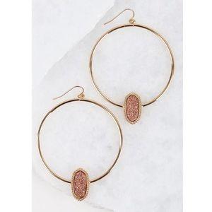 Jewelry - ✨SALE!✨5⭐️NEW! CHIC ROSE GOLD DRUZY HOOP EARRINGS